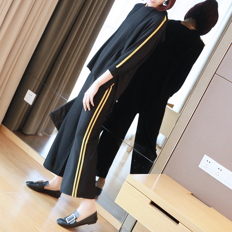 Casual suit female 2019 spring and summer new sweater women's fashion hooded sweater wide leg pants two sets of tide 6