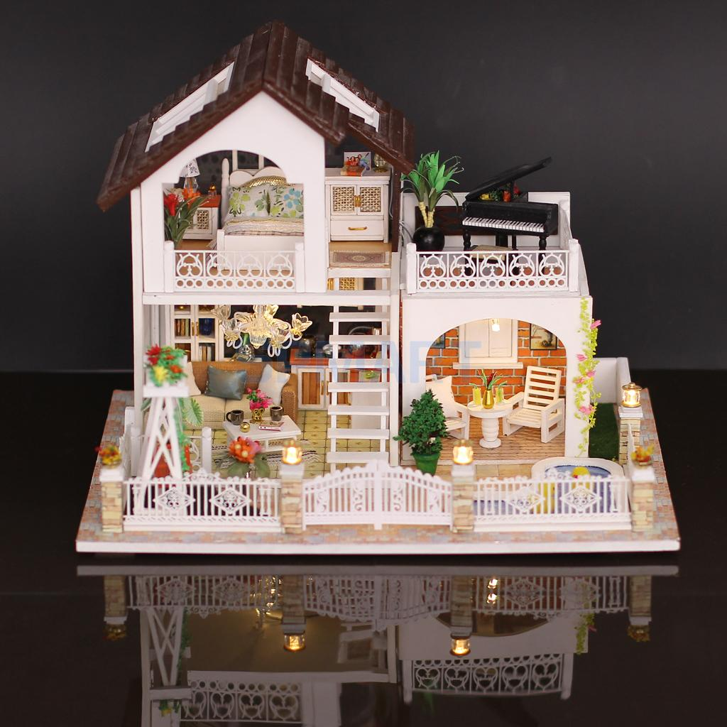 Handmade 3D DIY House Model Kit Miniature LED Light & Cover & Music Box Wooden Dolls House Model Collectibles Holiday Villa цена