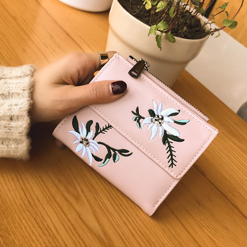 New 2018 Women Wallets Cute Little Pure Fashion PU Leather Student Wallet Woman Coin Purse National Embroider Ladies HandBags