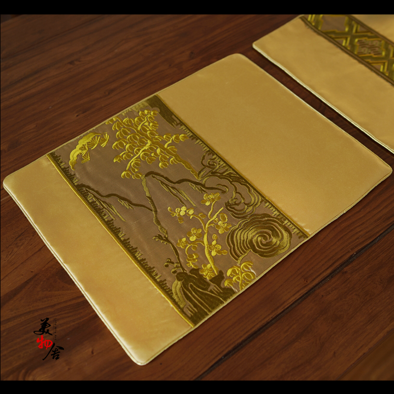 Freeshipping Gold Landscape Luxury Embroidery Heat Insulation Dining Table Placemat Disc Coaster Waterproof Slipresistant Mat