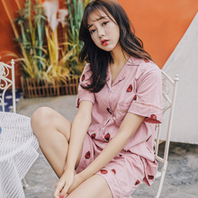 2019 Summer New Female Sleepwear Set Ladies Cartoon Strawberry Printed Sweet Pajamas Set Short Sleeve+Pants 2pcs Women Homewear