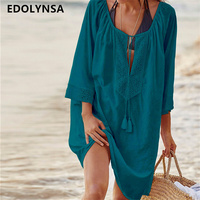 Women Swimsuit Cover Ups Sexy Kaftan Beach Tunic Dress 2017 Summer Robe De Plage Solid Cotton