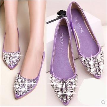 2015 New Fashion Single Shoes Bling Rhinestone Wedding Flat Gold Silver Womens Heel Casual