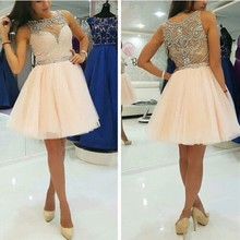 A Line Sleeveless Girls Graduation Gowns Beaded Peach Color Beading Handwork Short Prom Dresses With Stones Party Gowns
