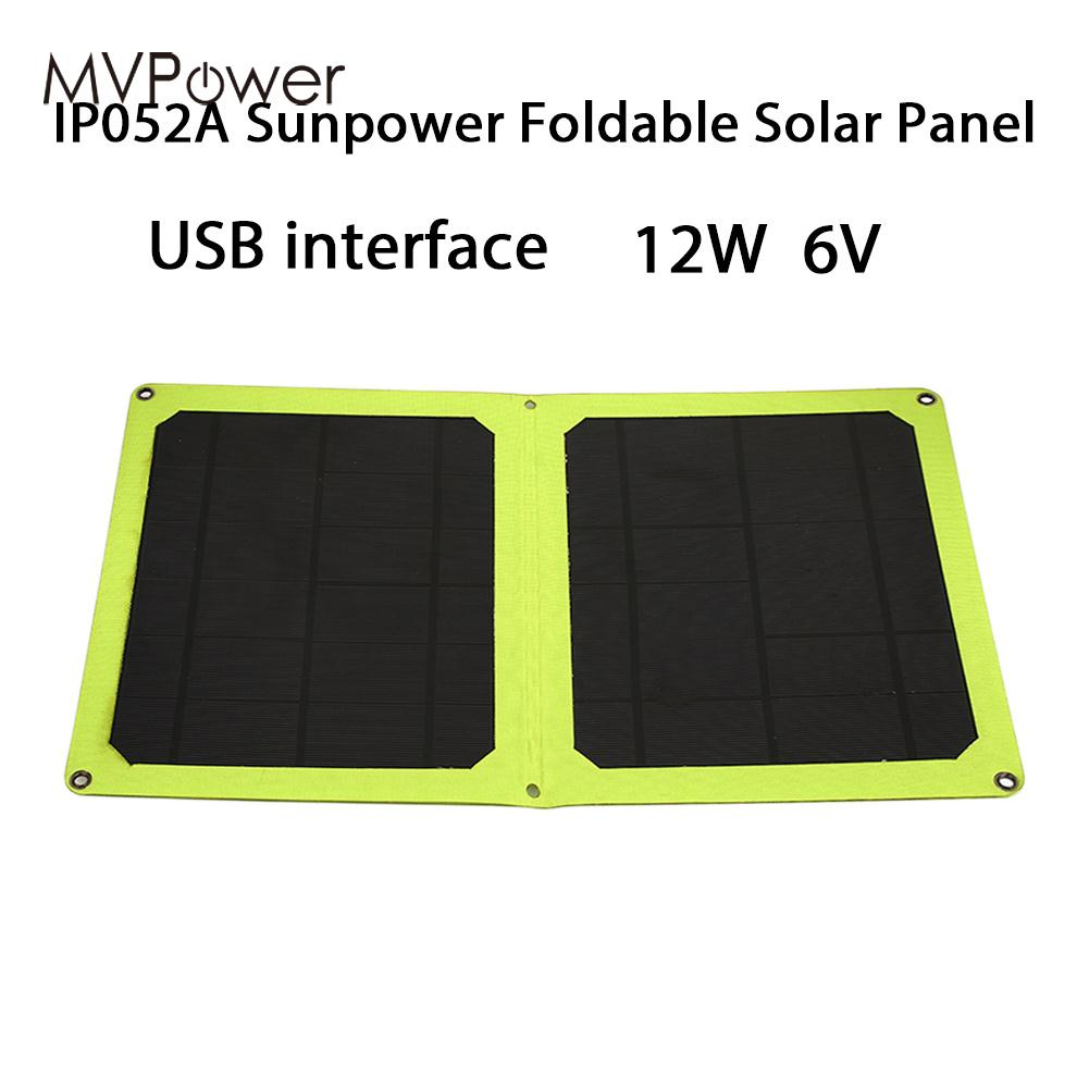 Durable Solar Charger Panel Solar Generator Solar Panel Phone Charger Climbing Outdoor 12W 6V Foldable Monocrystalline Silicon