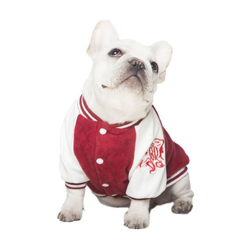 HSWLL New Pet Small Dog Large Dog Fall Winter Double Embroidery Baseball Wear French Bulldog