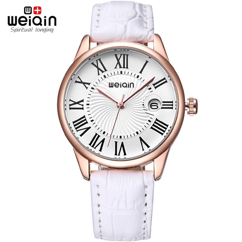 Prix pour Weiqin loupe Date mode montres femmes boîtier en or Rose bracelet en cuir montre dames Roma indice reloje mujer relógios