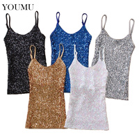 Women Sexy Sequined Camis Bling Spaghetti Strap Dance Club Wear Slim Vest Undershirt Fashion Tank Top