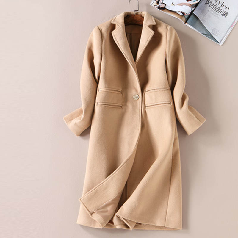 UK Elegant Fashion Designer Coats Long Sleeve Turn down Pockets ...