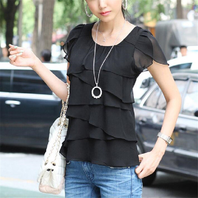 New Arrival 2015 Summer Ruffles Chiffon Blouse, Women's Petal Sleeve Plus Size Top Blouses, White Pink Black Women Shirts