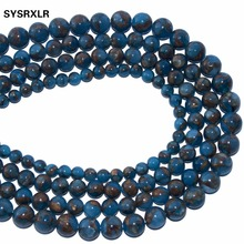Free Shipping Natural Stone Lake Blue Cloisonne Stone Round Loose Beads For Jewelry Making DIY Bracelet  6 8 10 MM Strand 15.5'' free shipping 8 chinese tibet silver cloisonne mosaic natural flower exquisite bracelet 5 24