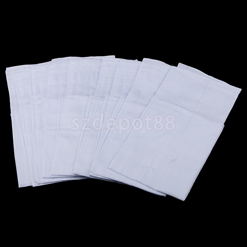 12pcs Men Women White 100% Cotton Handkerchiefs Soft Washable Hanky Hankie Hand Towel