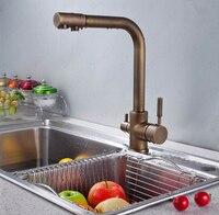 Классический Матовый бронзовый с двойной ручкой 3 способа смеситель для кухонной раковины 2 выхода водопроводный кран кухонные аксессуары