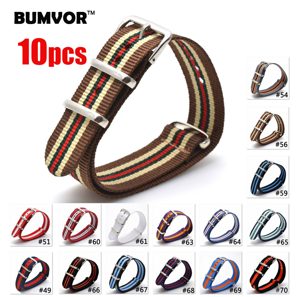 NEW 10PCS 16 18 20 22 24 mm Brand Army Sports nato fabric Nylon watchband Bands Buckle belt For 007 James bond Watch Strap black все цены