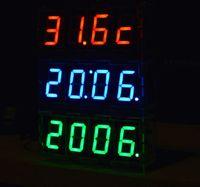 5 v clock kit fai da te led orologio digitale 4 colori blu/rosso/yellew/bianco opzionale orologio di diy kit tempo di visualizzazione della temperatura più basso.