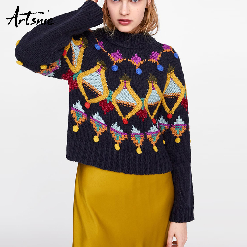 Artsnie Vintage Embroidery Navy Blue Women Sweater Spring 2019 O Neck Long Sleeve Jumper Pull Femme