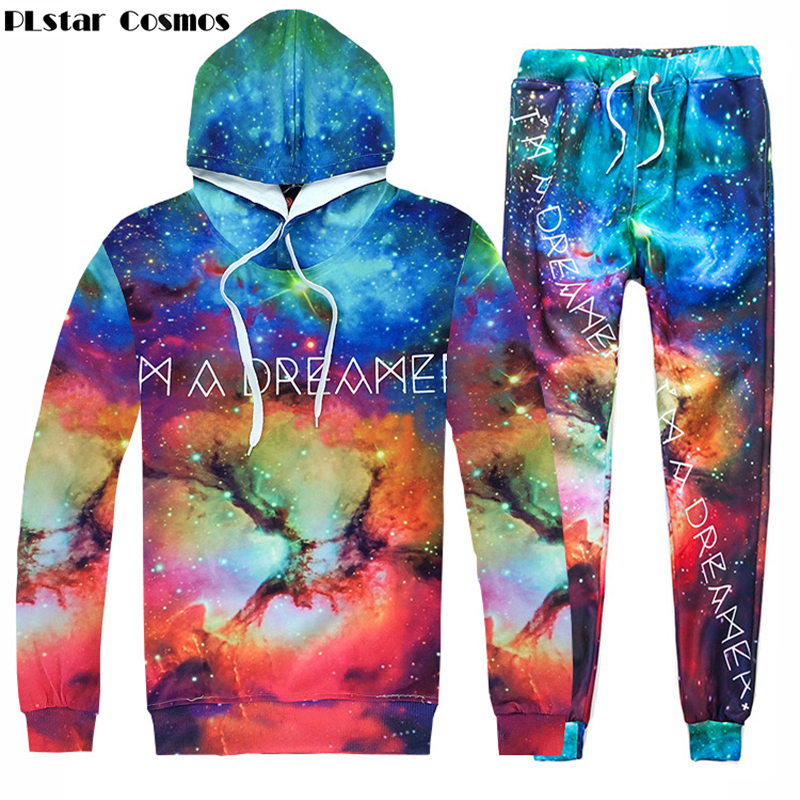 PLstar Cosmos 2017 New Space Galaxy Fashion Men/Women 3d Hoodies print I am a dreamer hooded sweatshirt+joggers pants sets