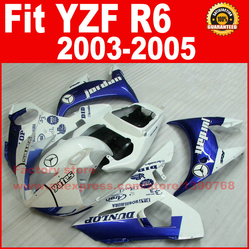Fit for YAMAHA R6 fairings 2003 2004 2005 Jordan blue white YZF R6 fairing parts 03 04 05 body kits V969