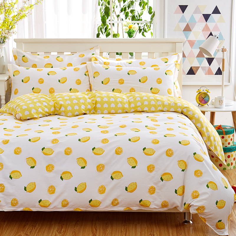 100 Cotton Fresh Yellow Lemons Bedding Set Twin Full