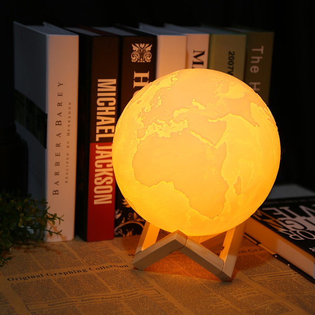 Printing 16 Colors Earth Light Dimmable Desk Decorative Lamp With Remote Control Led Night Lighting Baby Bedroom