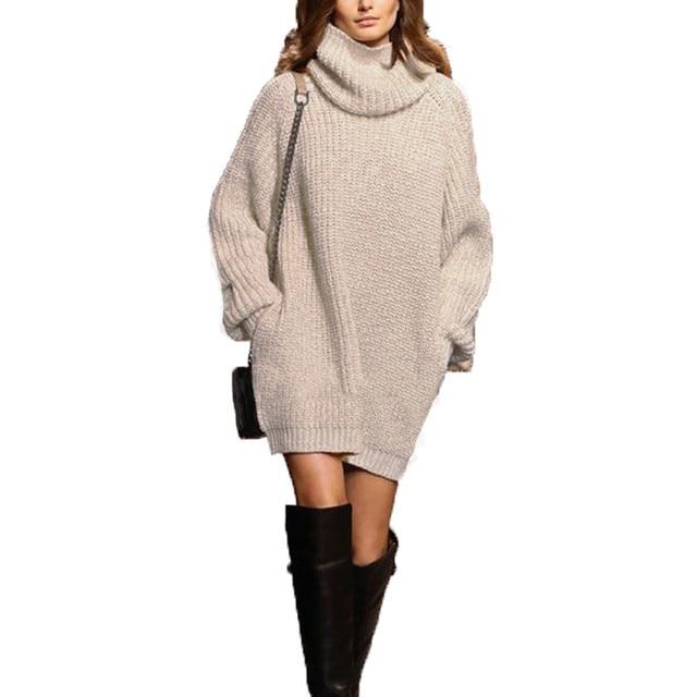 4870e45c1a3 European Knitted Pullovers 2017 New Winter Women Sweater Turtleneck Sweaters  Long Sleeve Loose Casual Knitwear Dress