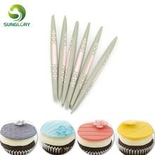 6PCS/SET Cake Modelling Tools Fondant And Gumpaste Decorating Cake Carved Pens Cupcake Flower Modelling Craft Clays Baking Mold