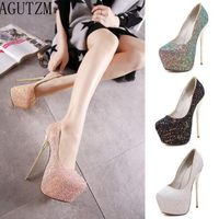 Plus size 2019 women 16cm high heels prom wedding shoes lady sequined sexy shallop single shoes Party Shoes