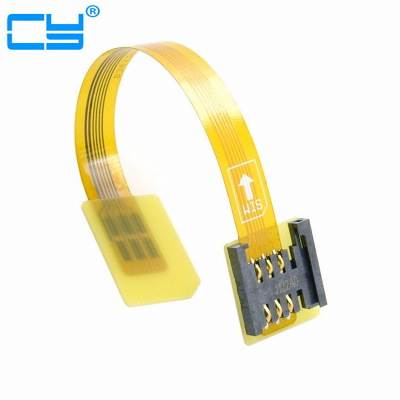 Free Shipping tracking number GSM CDMA Standard UIM SIM Card Kit Male to Female Extension Soft Flat FPC Cable Extender 10cm