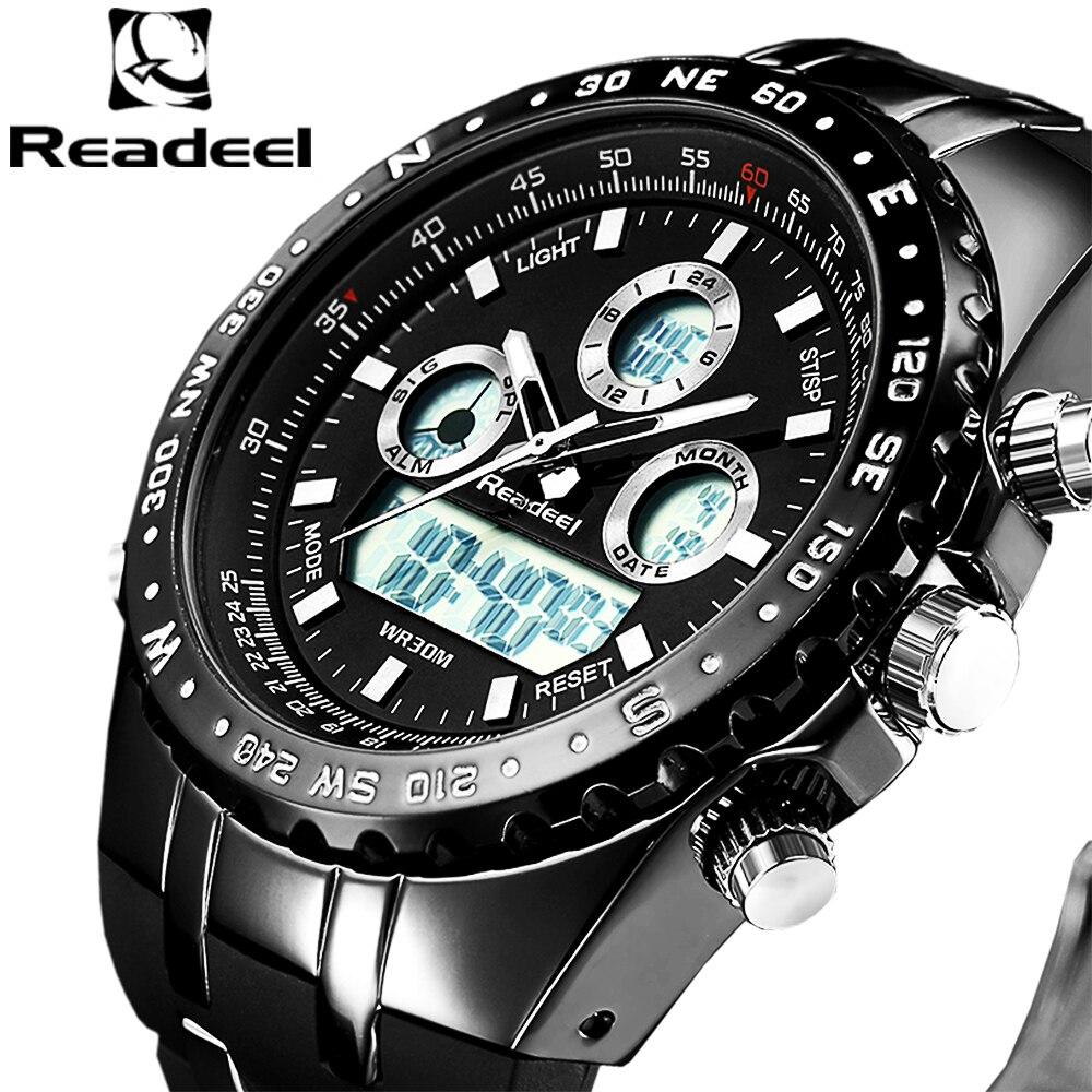 2018 Top Marca de Moda de Luxo Do Esporte Do Cronógrafo Dos Homens Relógios LED Digital Quartz Watch Reloj Hombre Relógio Masculino relogio masculino