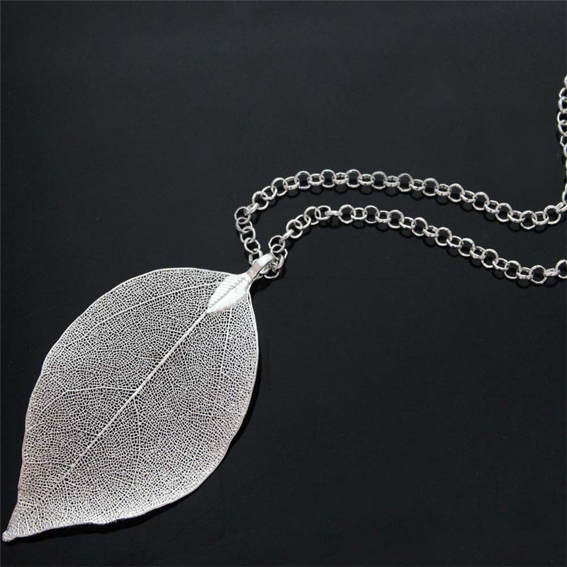 Fashion leaf long pendant necklace silver plated natural leaves fashion leaf long pendant necklace silver plated natural leaves necklaces trendy statement collares jewelry women accessories aloadofball Images