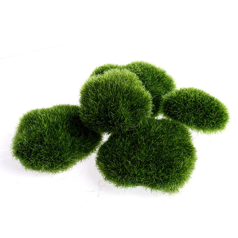 5pcs Green Artificial Moss Stones Grass Plant Poted Home Garden Decor Landscape ...
