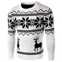 Knitted Christmas Mens Sweater Winter Underwear Cartoon Pattern Printed Slim Fit Deer Printed Mens Polo Sweater Outerwear B123