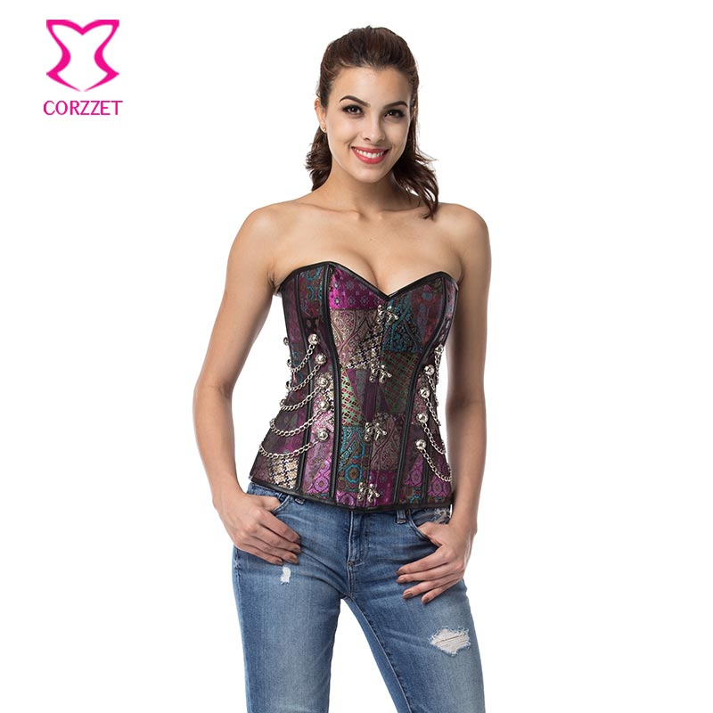 Punk Fashion Purple Brocade Plus Size   Corsets   And   Bustiers   Waist Trainer Steel Boned   Corset   Overbust Gothic Steampunk Clothing