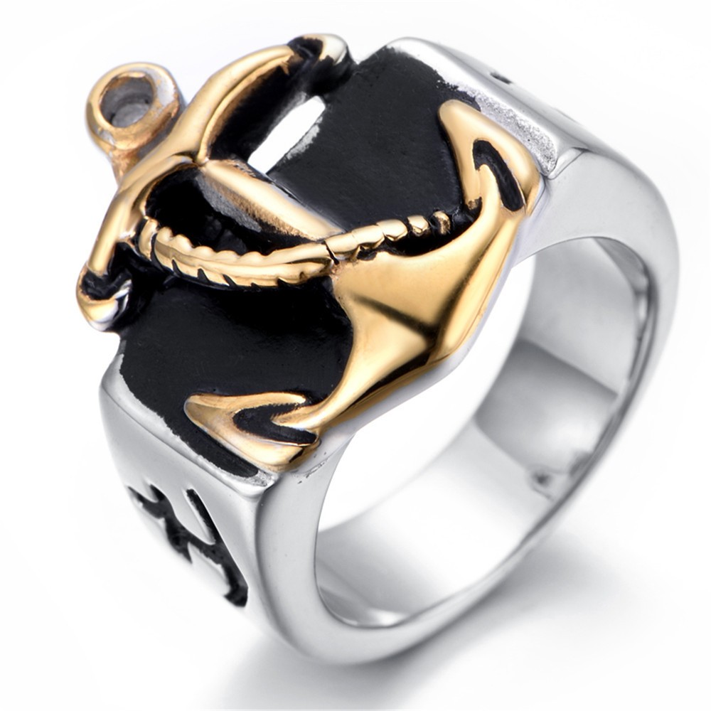 New Silver Gold Men's Anchor Navy Nautical Sailor Stainless Steel Ring(china  (mainland)