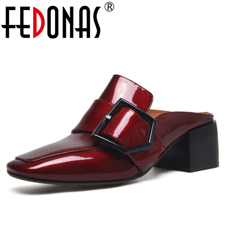 FEDONAS 2019 Fashion Women Mules Shoes Sexy Square Toe High Heeled Pumps Patent Leather Wedding Party Shoes Woman Buckles Pumps fedonas sexy pointed toe women genuine leather pumps close toe summer shoes mules high heeled sandals sexy women slippers