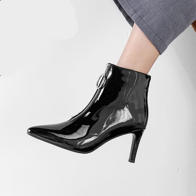 0fa5cefba906a4 Mode Bout Pointu Femmes Bottes Femme Zipper Sexy Mince Haute De Cheville Verni  Hiver Talons Cuir Noir 2018 Chaussures Automne En qX6O44w