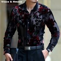 Exquisite flower pattern silk gold velvet hollow high end shirt 2018 Spring&Autumn new fashion casual quality men shirt M XXXL