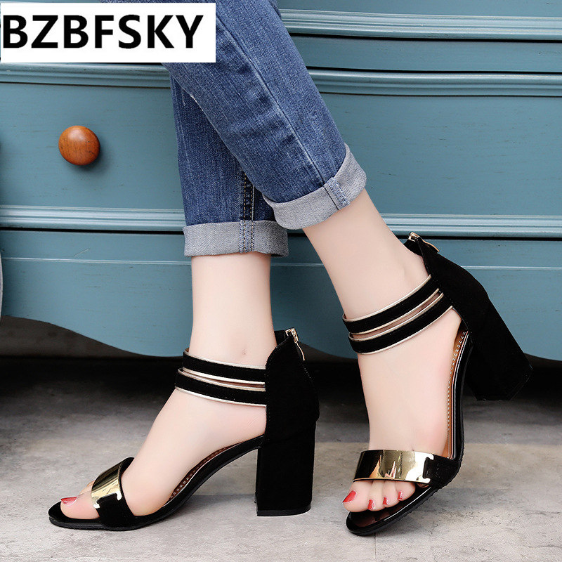 Summer Women Sandals Open Toe Flip Flops Women's Sandles Thick Heel Women Shoes Korean Style Gladiator Platform Wedge Shoe bonjomarisa 2017 fashion summer sandles big size 32 43 cutout open toe thick heel less platform women shoes ladies footwear