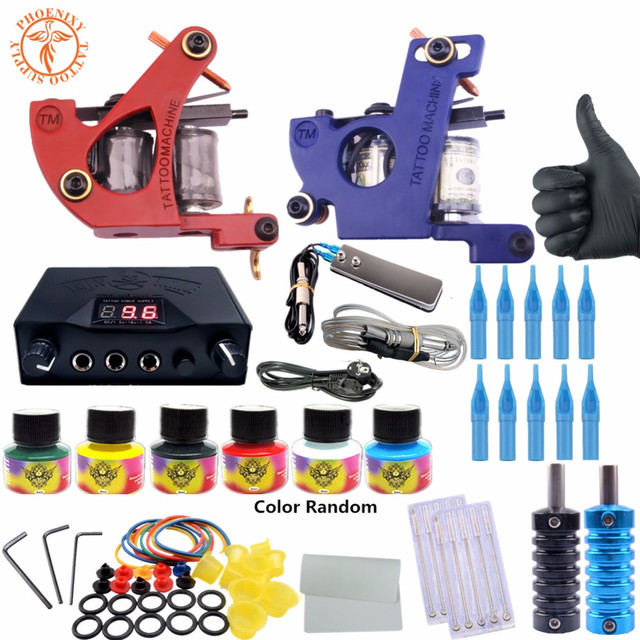 completed tattoo kit equipment tattoo machine gun 10 color power