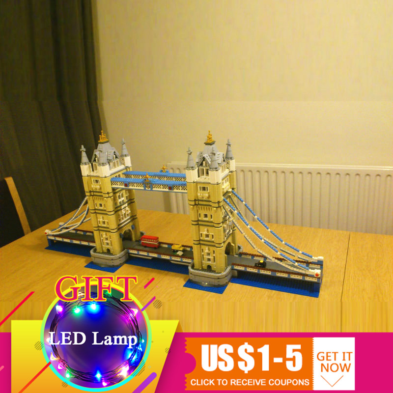 17004 4295pcs London bridge set Compatible with 10214 Model Building Blocks Kits Brick DIY Toys Gifts in stock new lepin 17004 city street series london bridge model building kits assembling brick toys compatible 10214