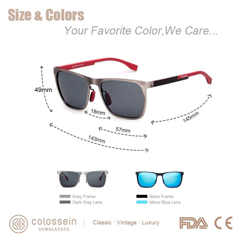 f775f6e311d6 COLOSSEIN Sunglasses Men Polarized Classic Fashion Metal Square Frame Lens  Grey Blue Style For Women Glasses UV400 Protection-in Men's Sunglasses from  ...