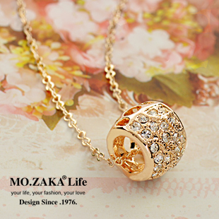 Mozaka accessories bead transfer fashion female crystal necklace short design chain