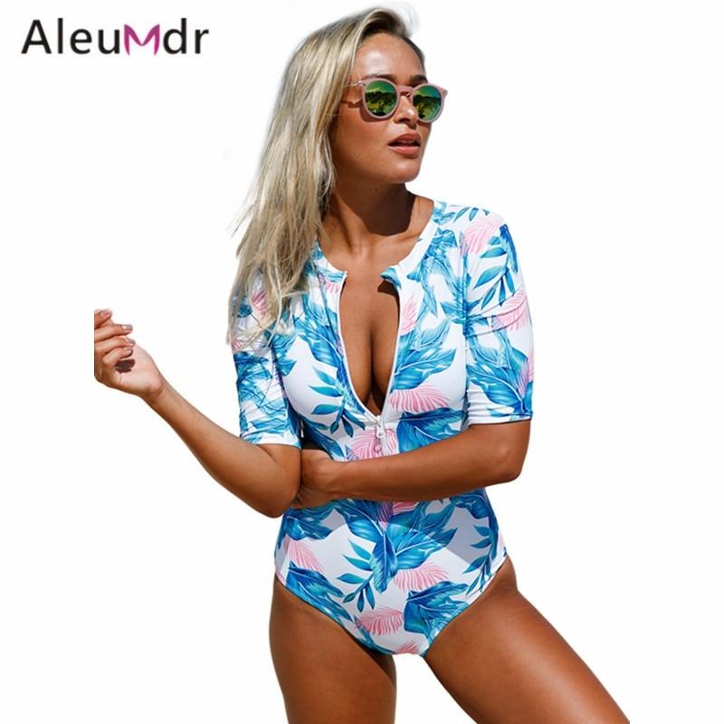c11cb4b5985ff Aleumdr Summer Print Leaves Zip Front Half Sleeve Swimwear Women One Piece  Swimwear Bodysuits LC410203 Bathing