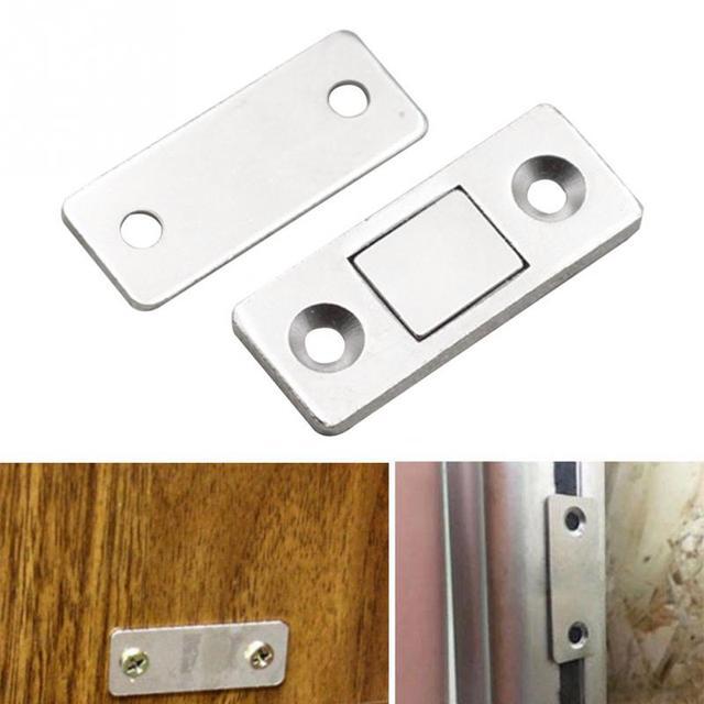 2pcs Ultra Thin Magnetic Door Catch Strong Door Closer lock Door Latch  Magnet for Furniture Cabinet Cupboard with Screws