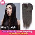 Peruano cabelo liso Silk Base de encerramento invisível Knots 7A peruano virgem cabelo Silk Lace encerramento do cabelo humano Silk Top Lace encerramento