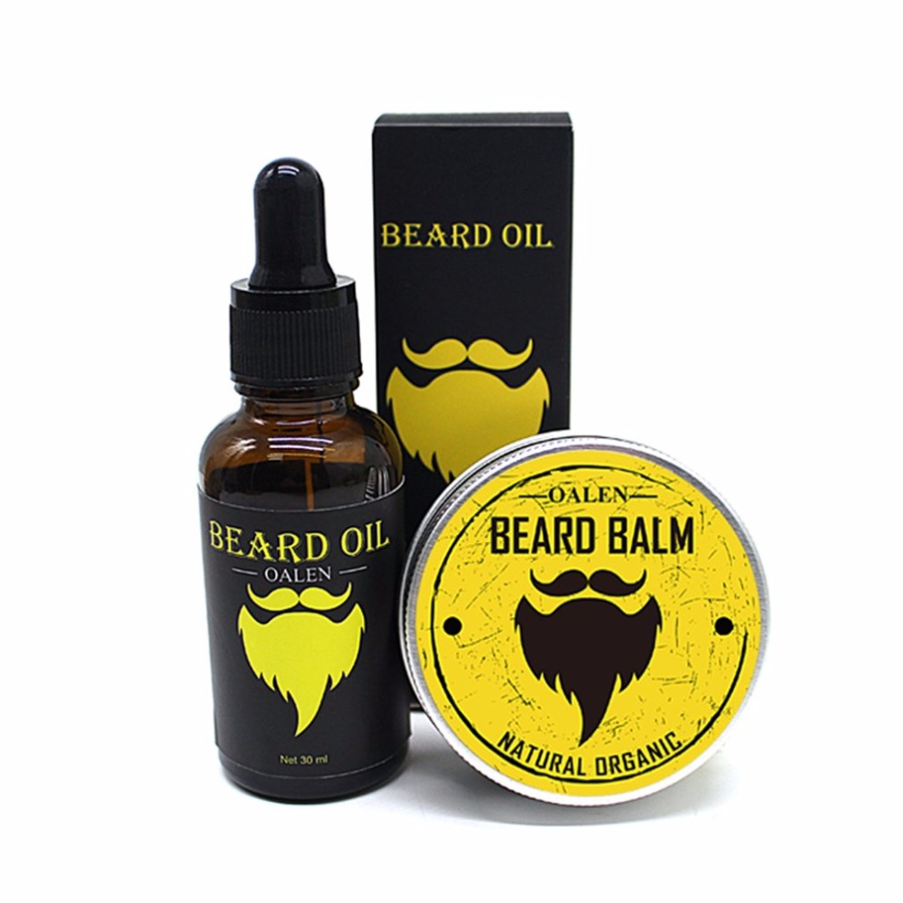 2018 Hot 3pcs/set Men Beard Care Kit Beard Balm + 30ml Beard Oil + Comb Male Hair Grooming Care Tools Moisturizing Nourishing