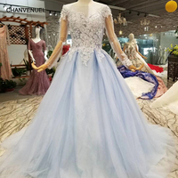 LSS090 light blue dress evening party women o neck long tulle sleeves a line mothers of brides dresses brush train free shiping