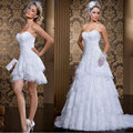 In Stock Real Picture Wedding Dresses Strapless Beading Vestido De Renda Curto Mini Sexy Lace Short Wedding Dress Detachable
