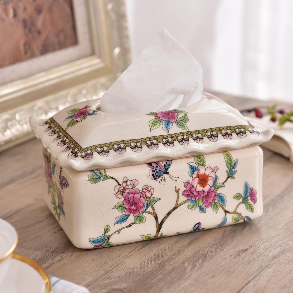 Fabricants vendant de haute qualité en céramique artisanat en céramique glace fissure papier serviette boîte boîte en papier créatif en céramique ornements