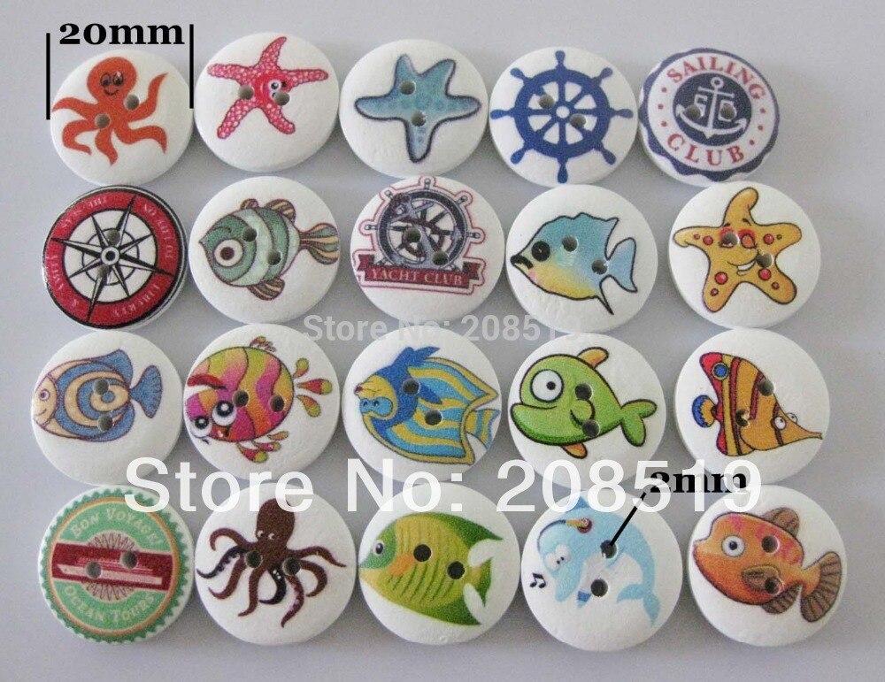 WB0188 botones de madera impresos colores mezclados 100 piezas al azar 20mm botones redondos para niños botones de coser
